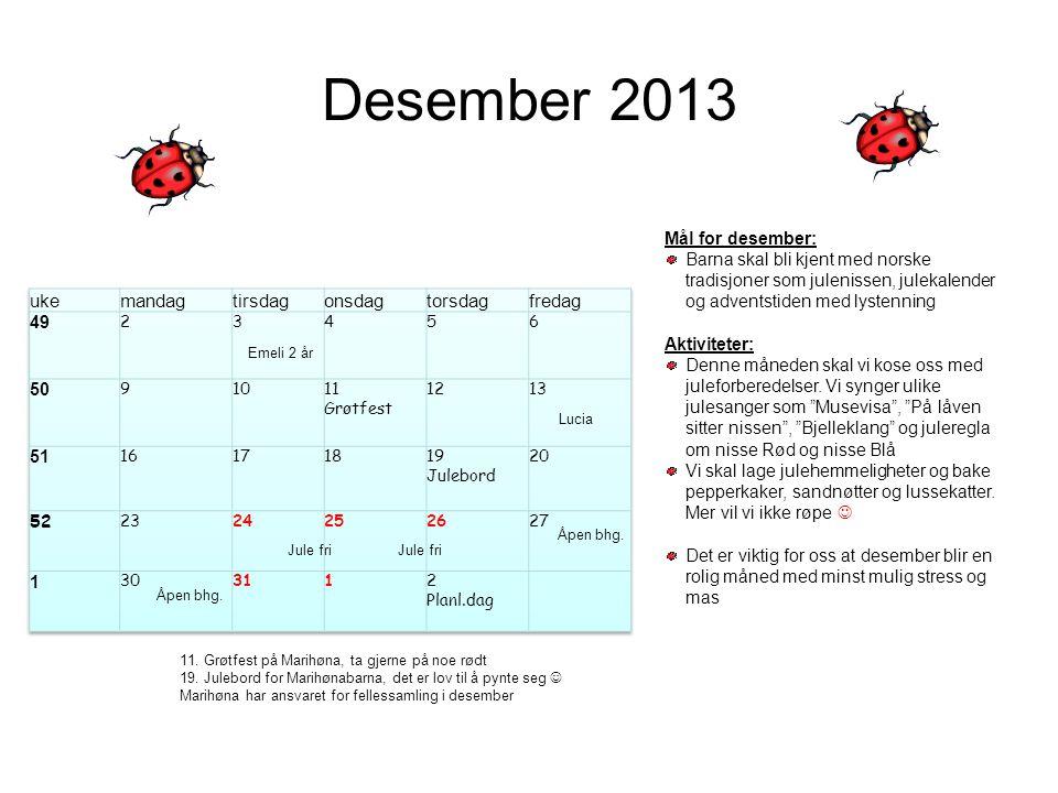 Desember 2013 uke mandag tirsdag onsdag torsdag fredag 49 50 51