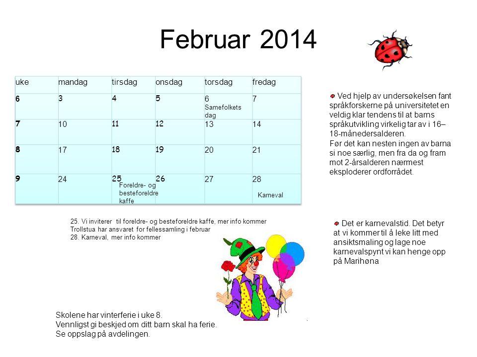 Februar 2014 uke mandag tirsdag onsdag torsdag fredag 6 3 4 5 7 10 11
