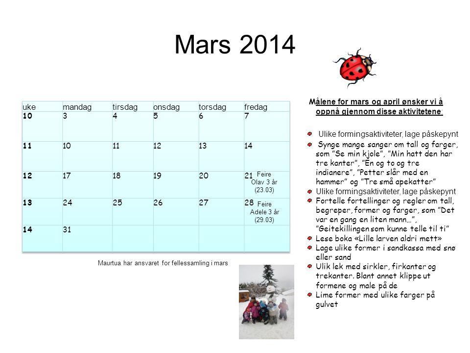 Mars 2014 uke mandag tirsdag onsdag torsdag fredag