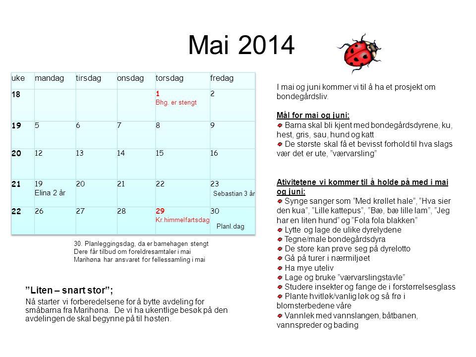 Mai 2014 Liten – snart stor ; uke mandag tirsdag onsdag torsdag