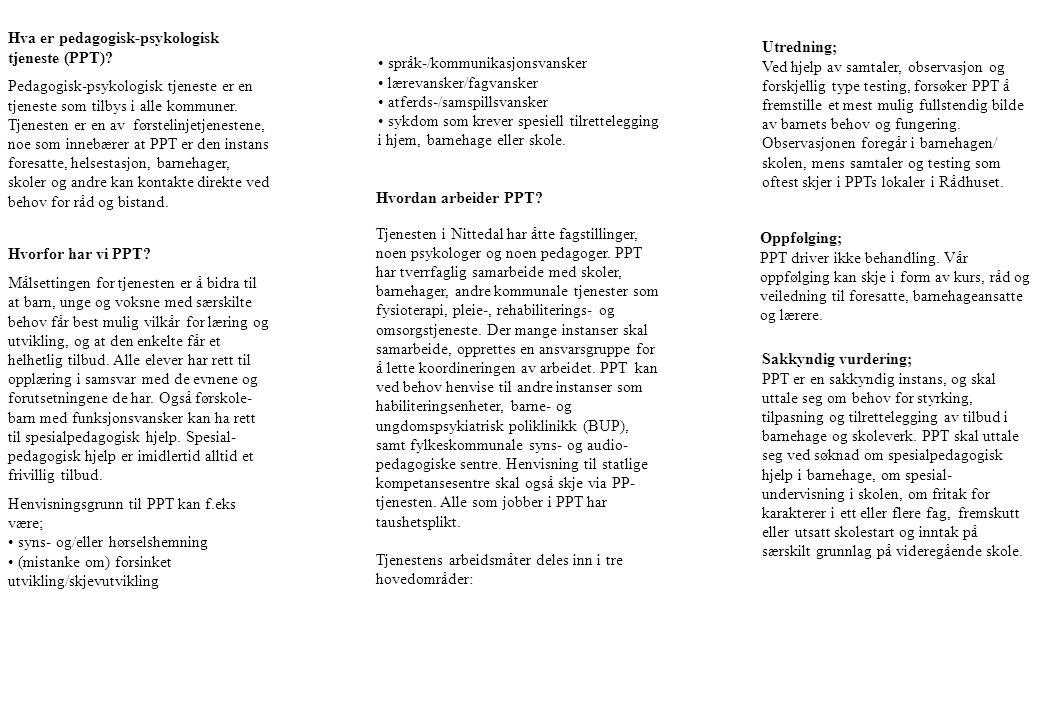 Hva er pedagogisk-psykologisk tjeneste (PPT)