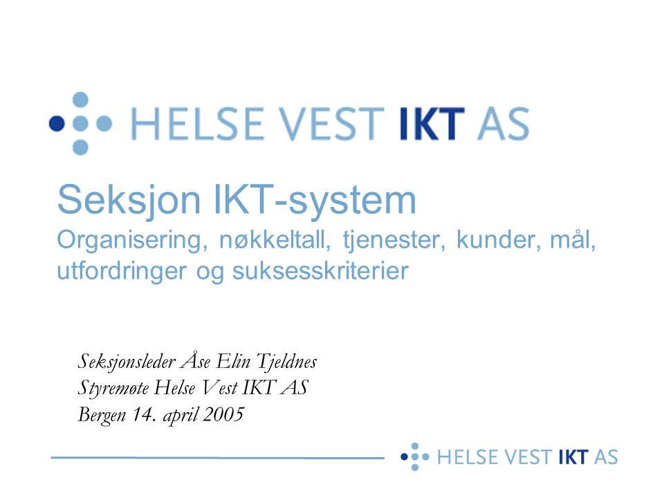 Seksjon IKT-system Organisering, nøkkeltall, tjenester, kunder, mål, utfordringer og suksesskriterier