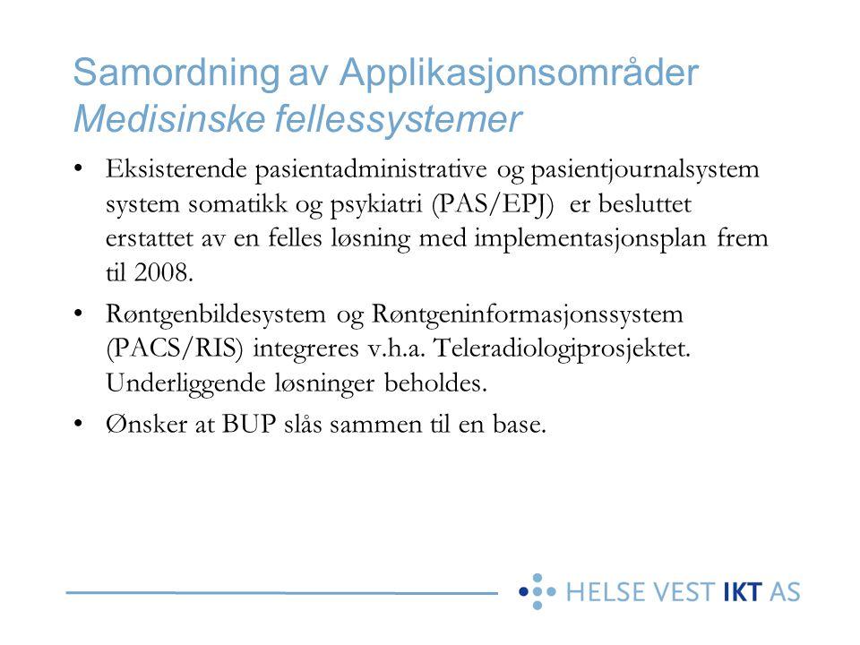 Samordning av Applikasjonsområder Medisinske fellessystemer