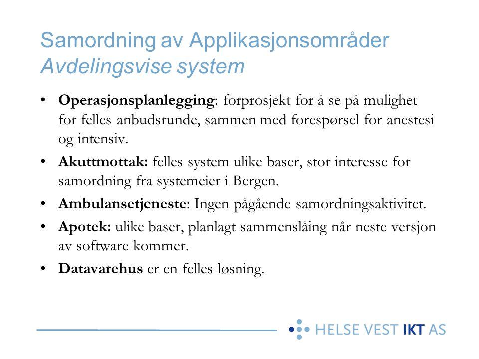 Samordning av Applikasjonsområder Avdelingsvise system