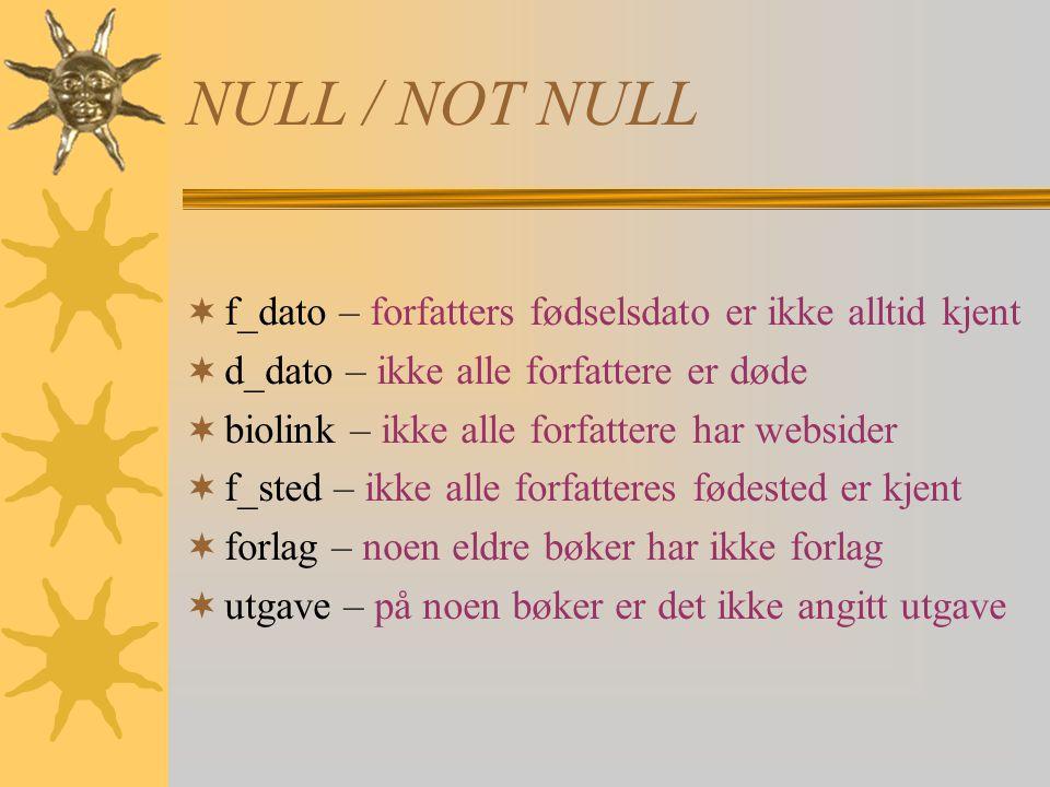 NULL / NOT NULL f_dato – forfatters fødselsdato er ikke alltid kjent