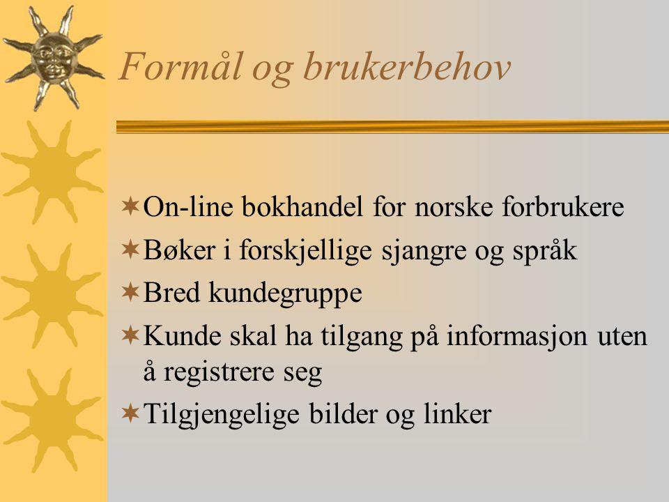 Formål og brukerbehov On-line bokhandel for norske forbrukere