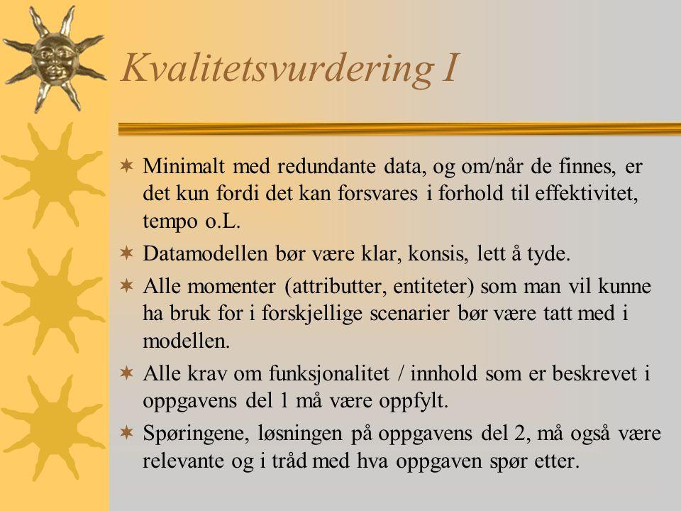 Kvalitetsvurdering I Minimalt med redundante data, og om/når de finnes, er det kun fordi det kan forsvares i forhold til effektivitet, tempo o.L.