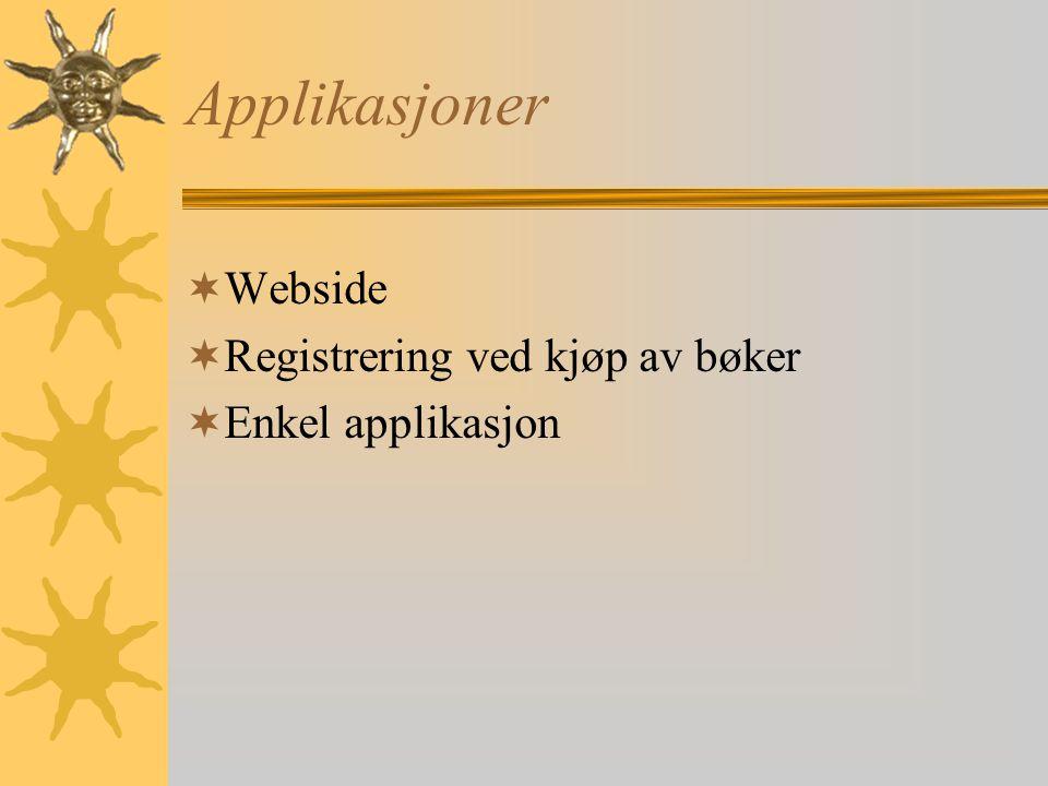 Applikasjoner Webside Registrering ved kjøp av bøker Enkel applikasjon