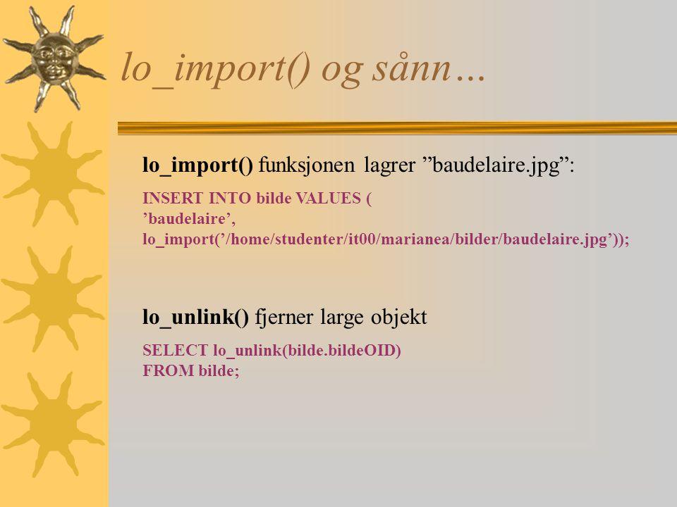 lo_import() og sånn… lo_import() funksjonen lagrer baudelaire.jpg :
