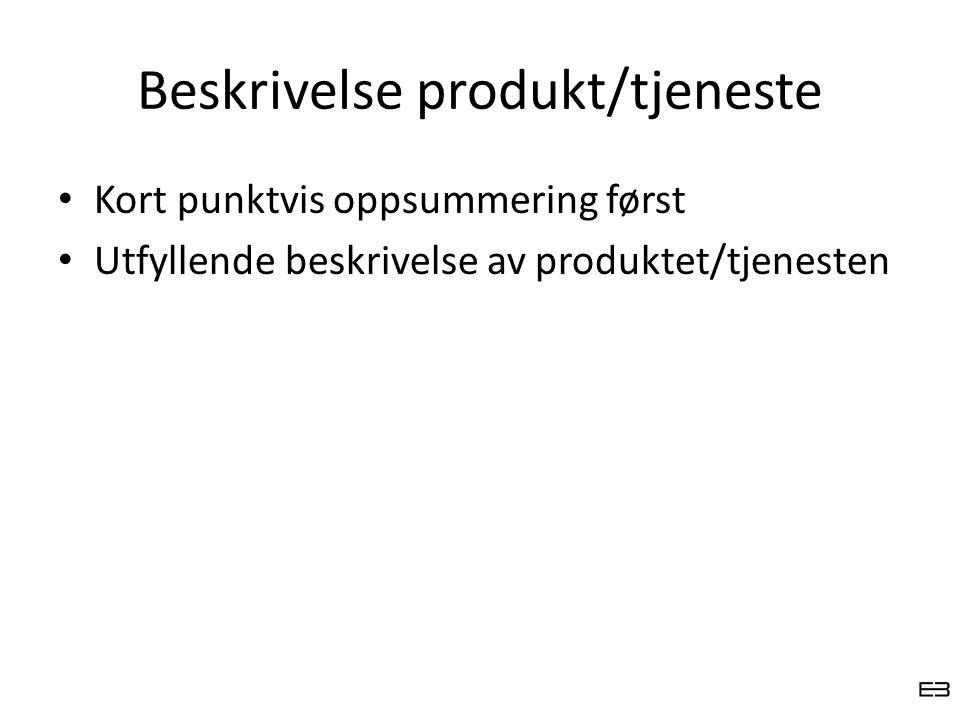 Beskrivelse produkt/tjeneste