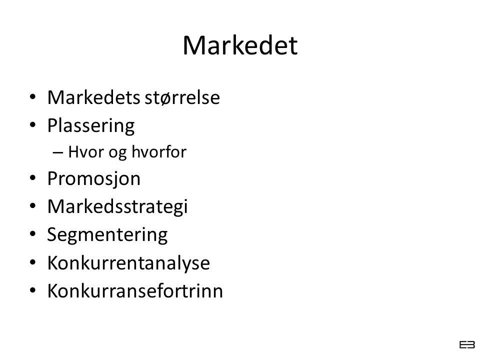 Markedet Markedets størrelse Plassering Promosjon Markedsstrategi