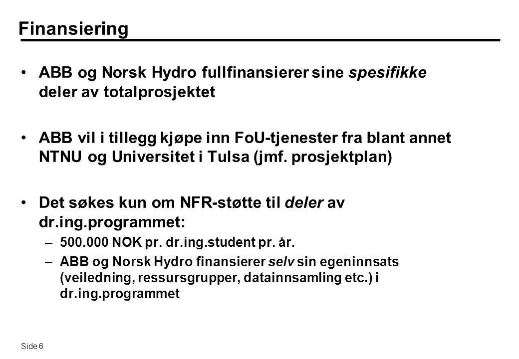 Finansiering ABB og Norsk Hydro fullfinansierer sine spesifikke deler av totalprosjektet.