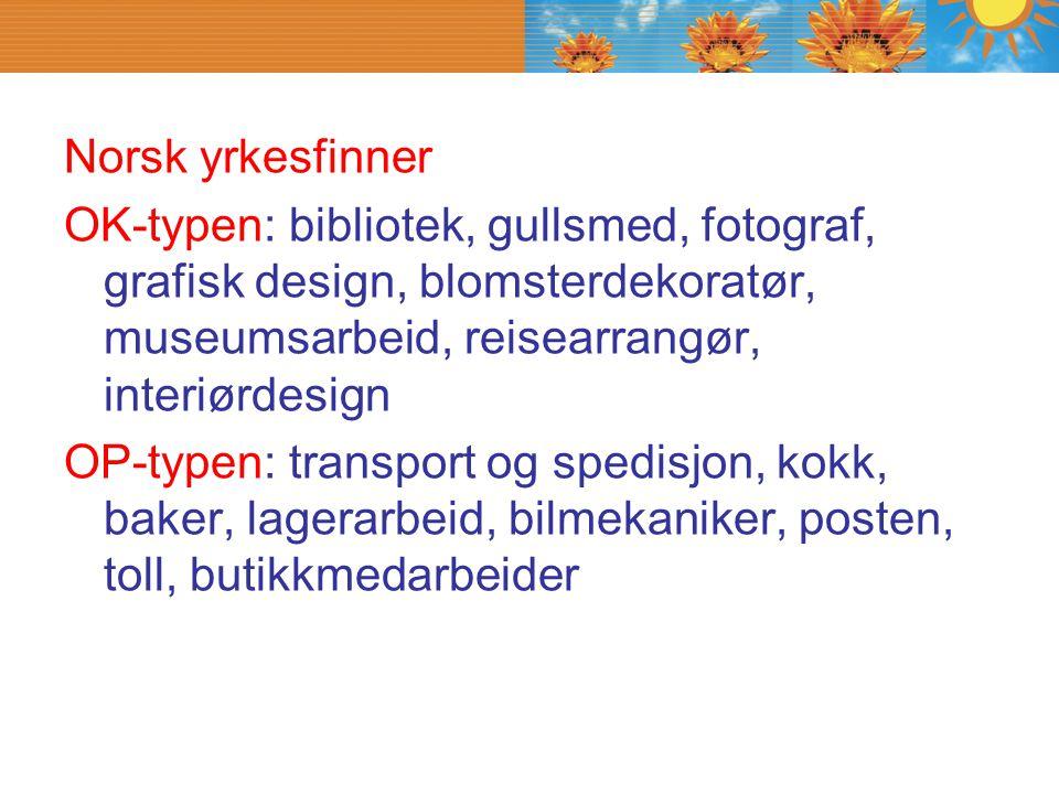 Norsk yrkesfinner OK-typen: bibliotek, gullsmed, fotograf, grafisk design, blomsterdekoratør, museumsarbeid, reisearrangør, interiørdesign.