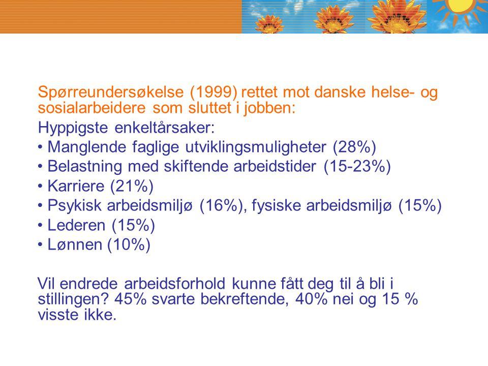 Spørreundersøkelse (1999) rettet mot danske helse- og sosialarbeidere som sluttet i jobben: