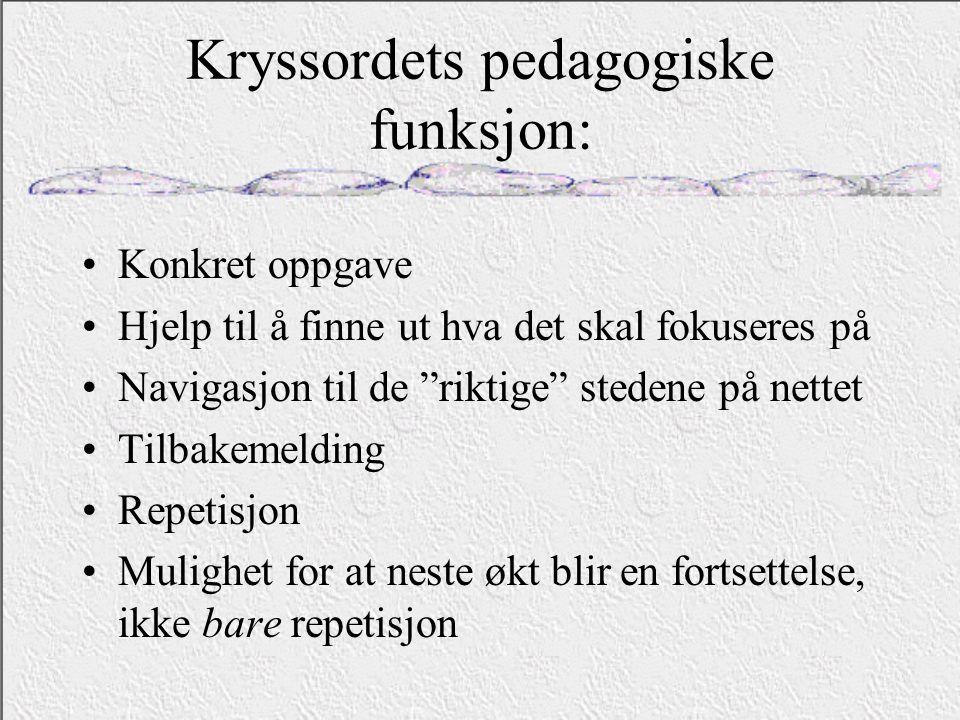 Kryssordets pedagogiske funksjon: