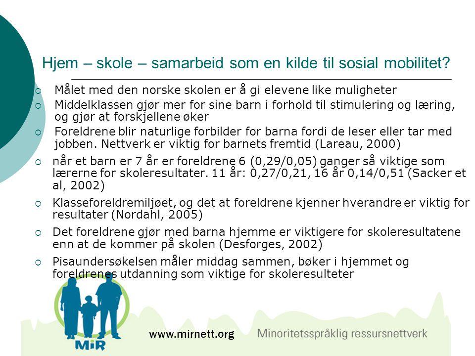 Hjem – skole – samarbeid som en kilde til sosial mobilitet