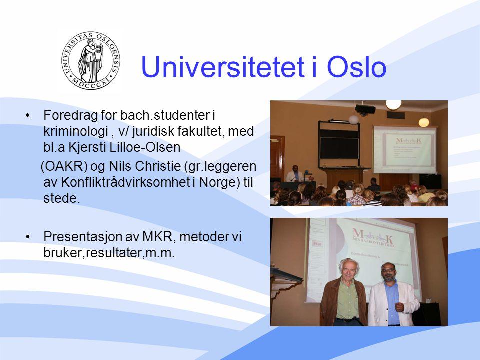 Universitetet i Oslo Foredrag for bach.studenter i kriminologi , v/ juridisk fakultet, med bl.a Kjersti Lilloe-Olsen.