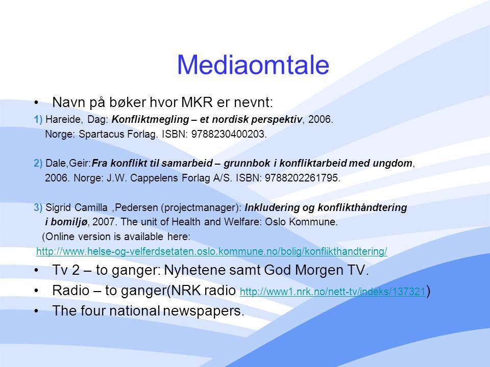 Mediaomtale Navn på bøker hvor MKR er nevnt: