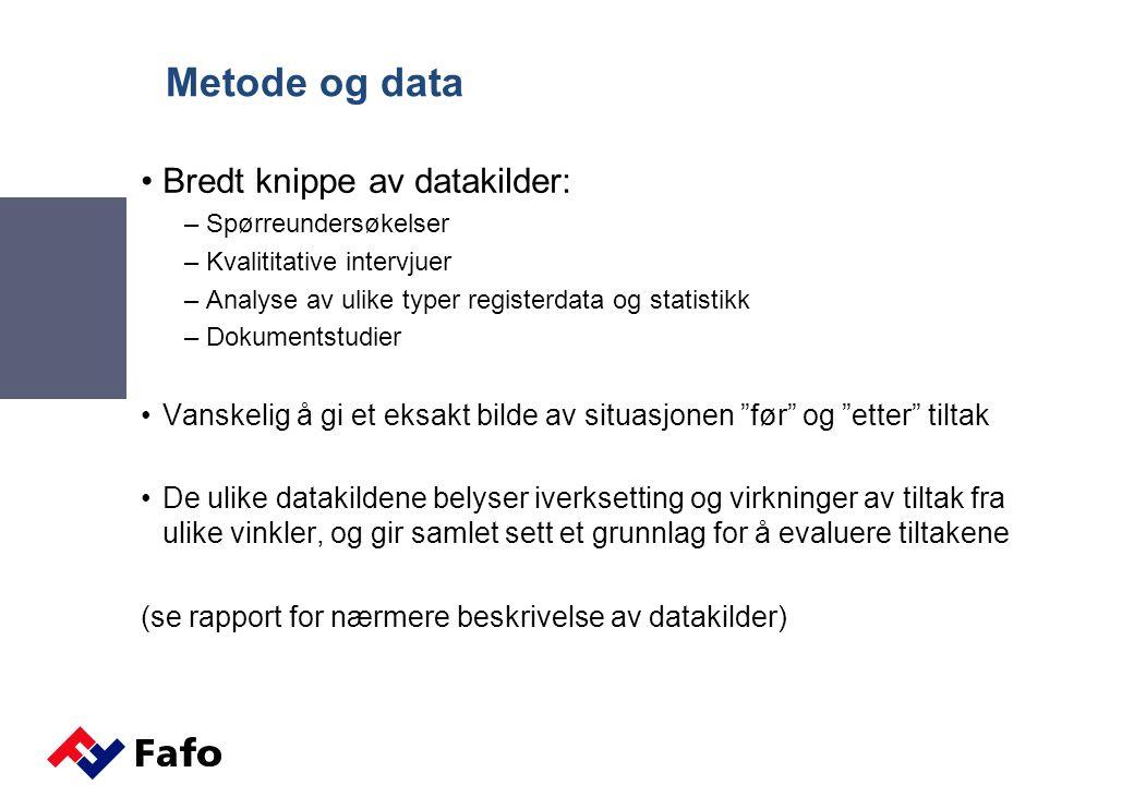 Metode og data Bredt knippe av datakilder: