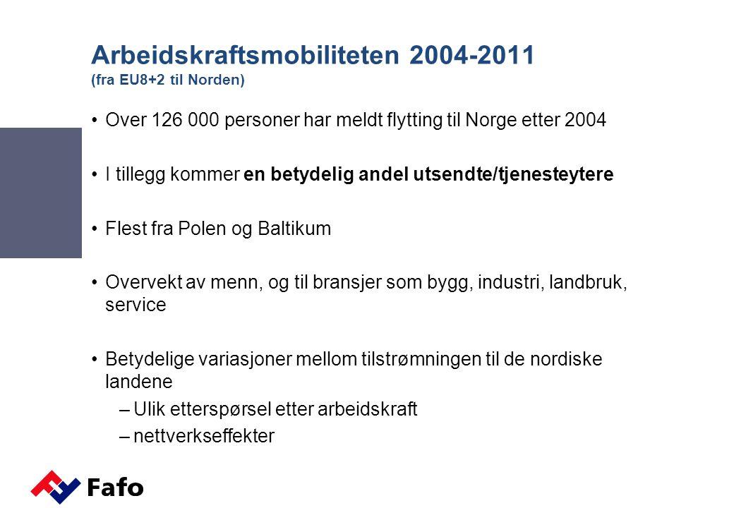 Arbeidskraftsmobiliteten 2004-2011 (fra EU8+2 til Norden)