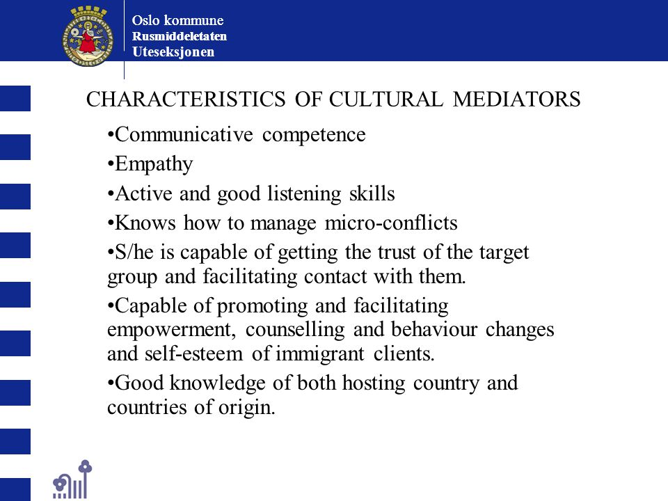 CHARACTERISTICS OF CULTURAL MEDIATORS