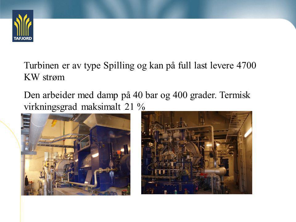 Turbinen er av type Spilling og kan på full last levere 4700 KW strøm