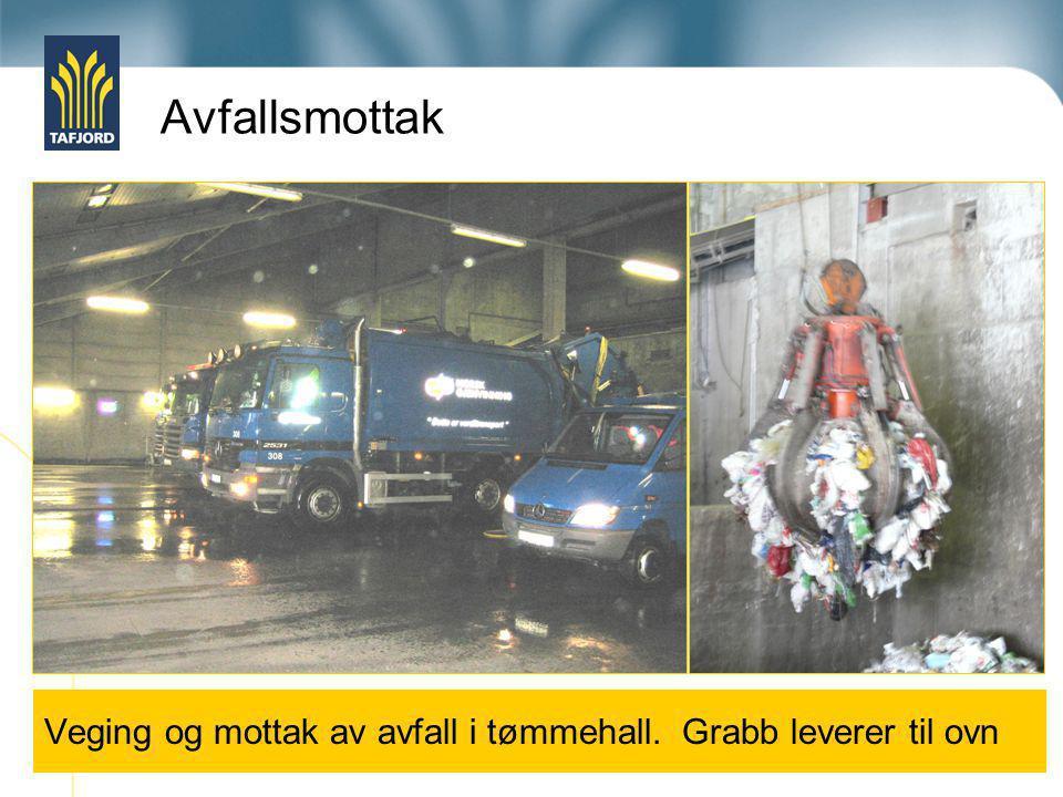 Avfallsmottak Veging og mottak av avfall i tømmehall. Grabb leverer til ovn