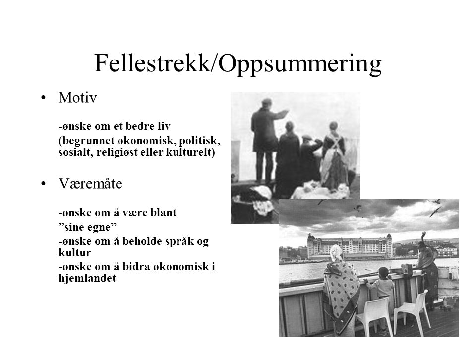 Fellestrekk/Oppsummering
