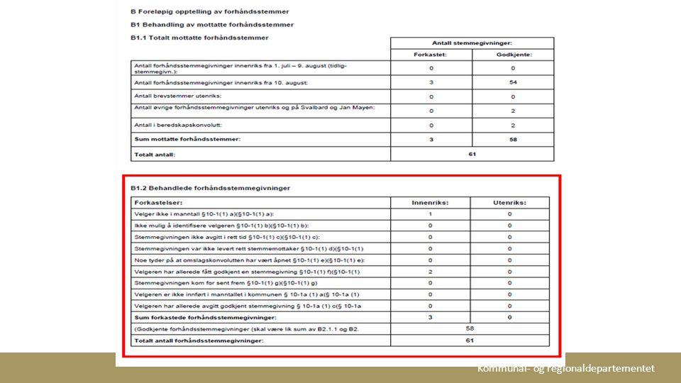 Tabell B 1.2 kan kontrolleres i EVA ved å se på oversikten over de Forkastede stemmegivningene under menyvalget Prøving av stemmegivninger .