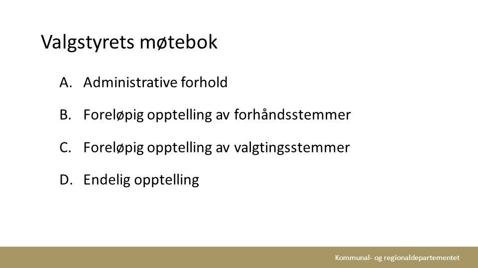 Valgstyrets møtebok Administrative forhold
