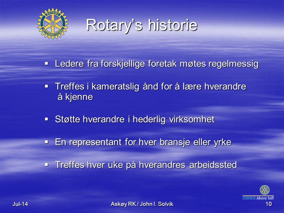 Rotary's historie Ledere fra forskjellige foretak møtes regelmessig