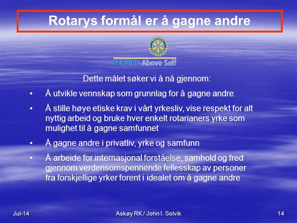 Rotarys formål er å gagne andre