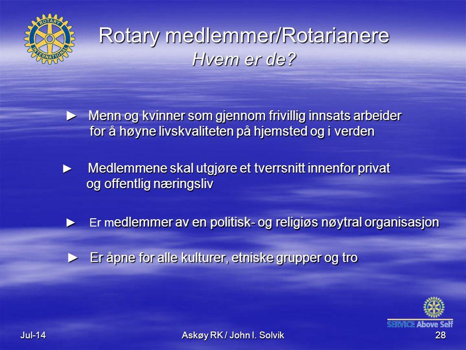 Rotary medlemmer/Rotarianere Hvem er de