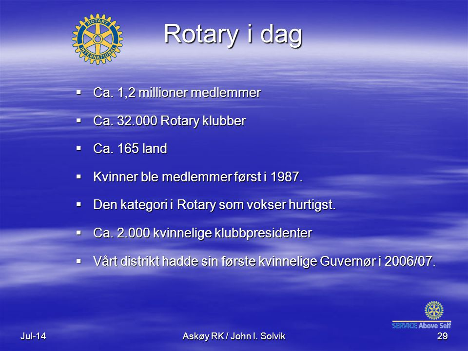 Rotary i dag Ca. 1,2 millioner medlemmer Ca. 32.000 Rotary klubber