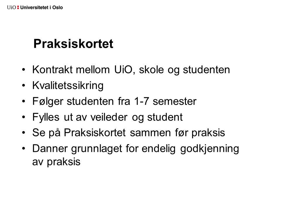 Praksiskortet Kontrakt mellom UiO, skole og studenten Kvalitetssikring
