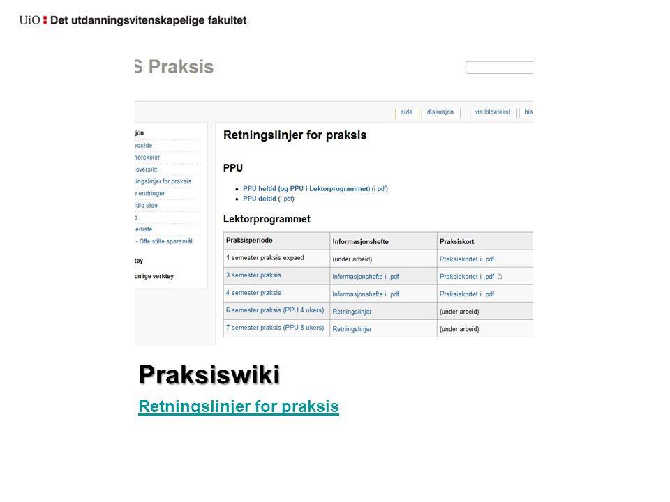 Praksiswiki Retningslinjer for praksis