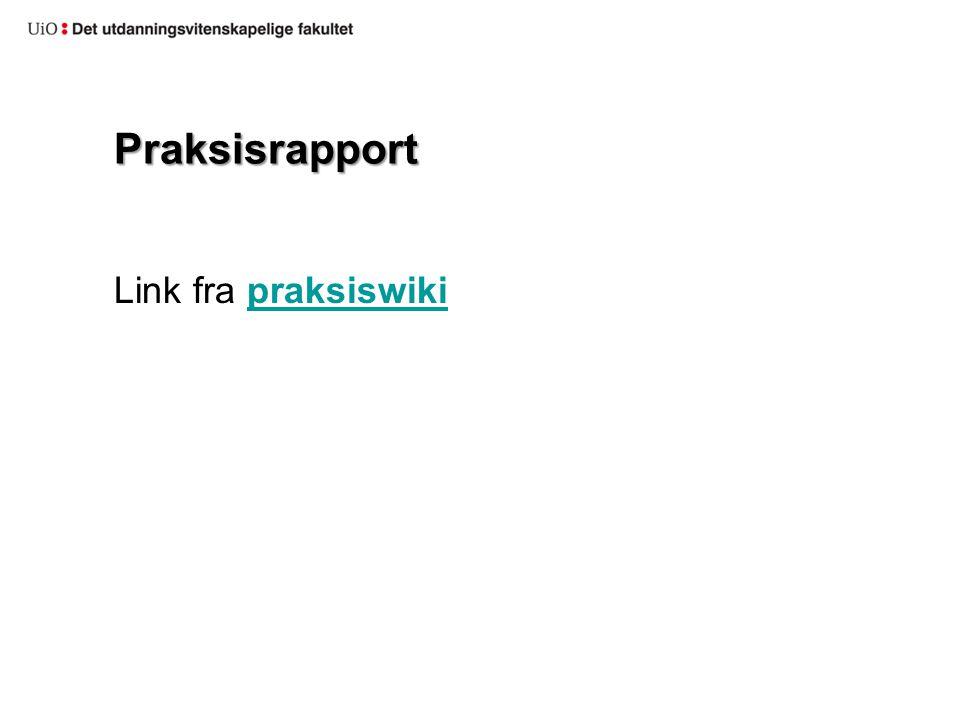 Praksisrapport Link fra praksiswiki