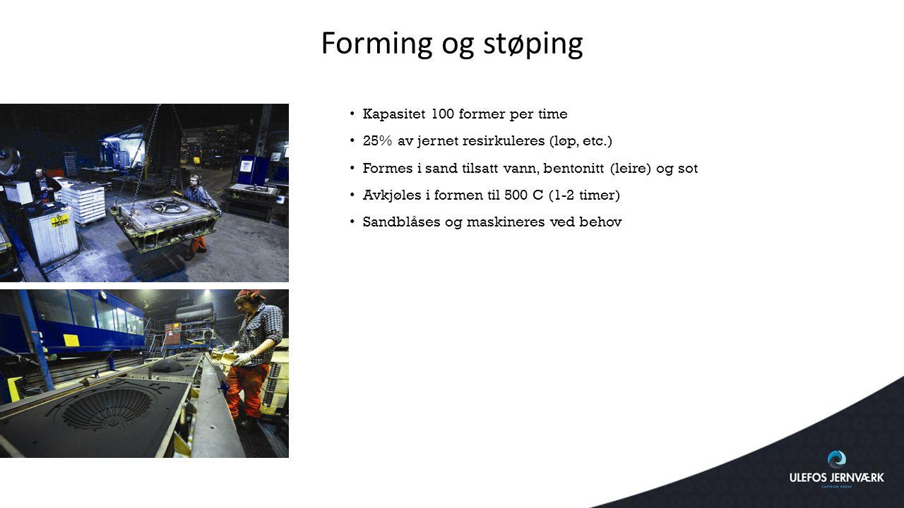Forming og støping Kapasitet 100 former per time