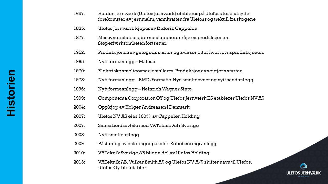1657: Holden Jernværk (Ulefos Jernværk) etableres på Ulefoss for å utnytte: forekomster av jernmalm, vannkraften fra Ulefoss og trekull fra skogene 1835: Ulefos Jernværk kjøpes av Diderik Cappelen 1877: Masovnen slukkes, dermed opphører råjernsproduksjonen. Støperivirksomheten fortsetter. 1952: Produksjonen av gategods starter og avløser etter hvert ovnsproduksjonen. 1965: Nytt formanlegg – Malcus 1970: Elektriske smelteovner installeres. Produksjon av seigjern starter. 1978: Nytt formanlegg – BMD-Formatic. Nye smelteovner og nytt sandanlegg 1996: Nytt formeanlegg – Heinrich Wagner Sinto 1999: Componenta Corporation OY og Ulefos Jernværk KS etablerer Ulefos NV AS 2004: Oppkjøp av Holger Andreasen i Danmark 2007: Ulefos NV AS eies 100% av Cappelen Holding 2007: Samarbeidsavtale med VATeknik AB i Sverige 2008: Nytt smelteanlegg 2009: Påstøping av pakninger på lokk. Robotiseringsanlegg. 2010: VATeknik Sverige AB blir en del av Ulefos Holding 2013: VATeknik AB, Vulkan Smith AS og Ulefos NV A/S skifter navn til Ulefos. Ulefos Oy blir etablert.