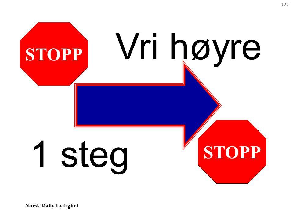 127 STOPP Vri høyre STOPP 1 steg