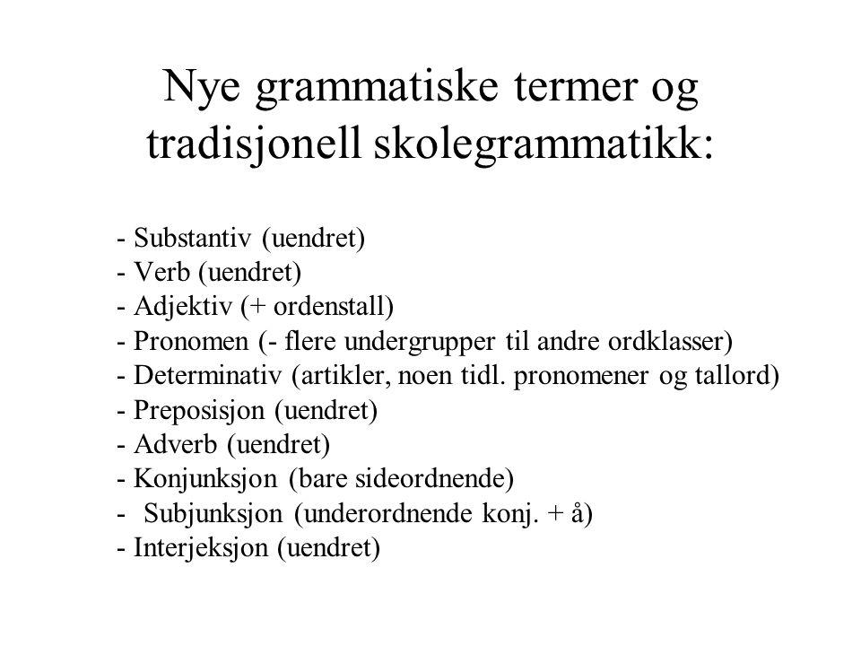 Nye grammatiske termer og tradisjonell skolegrammatikk: