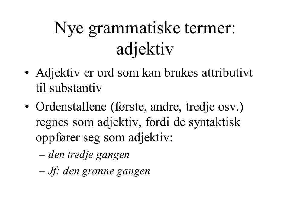 Nye grammatiske termer: adjektiv