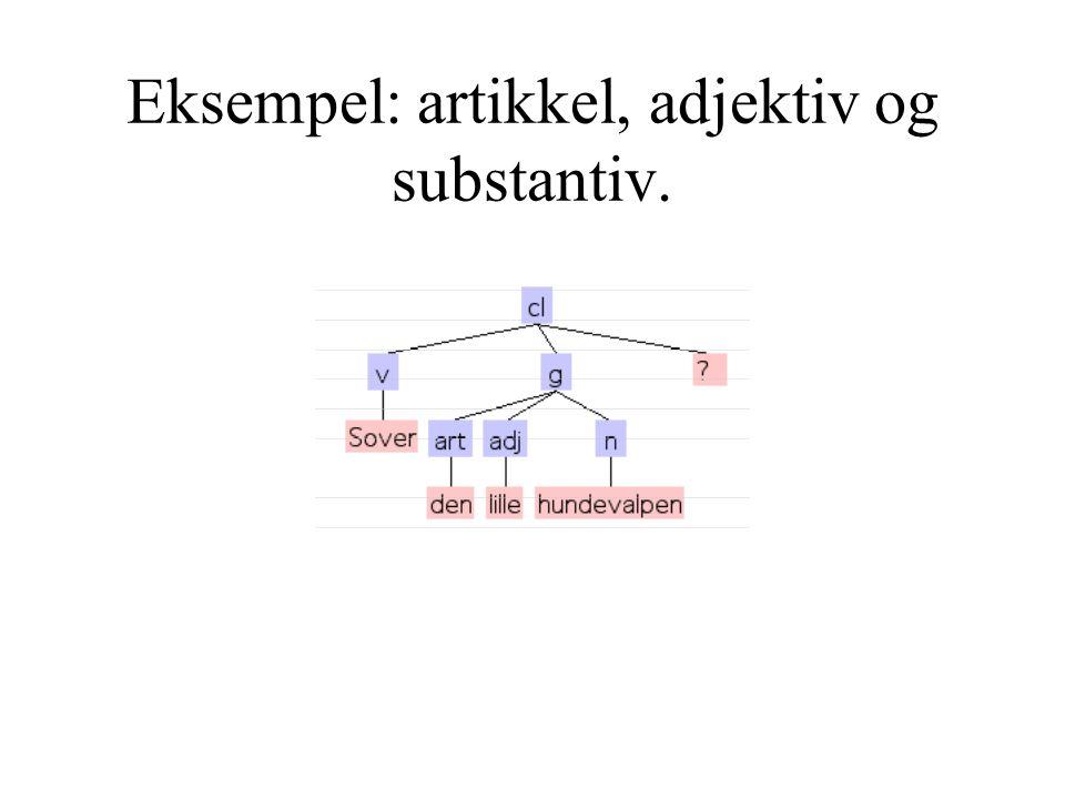 Eksempel: artikkel, adjektiv og substantiv.
