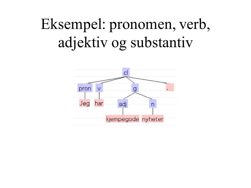 Eksempel: pronomen, verb, adjektiv og substantiv