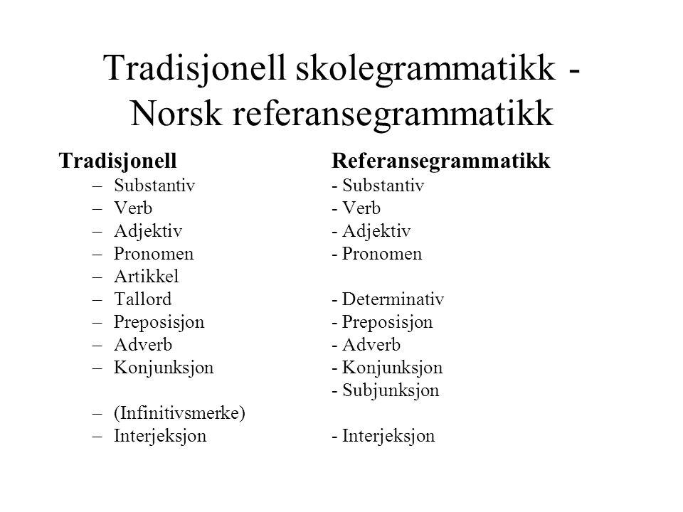 Tradisjonell skolegrammatikk -Norsk referansegrammatikk