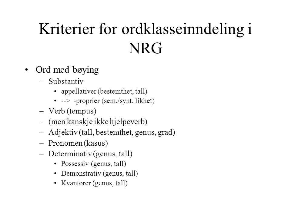 Kriterier for ordklasseinndeling i NRG