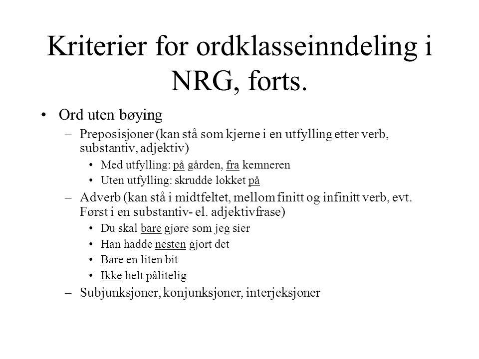 Kriterier for ordklasseinndeling i NRG, forts.