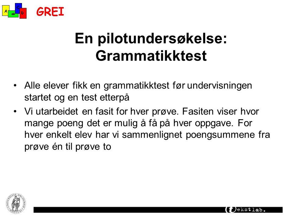 En pilotundersøkelse: Grammatikktest