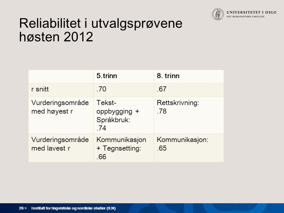 Reliabilitet i utvalgsprøvene høsten 2012