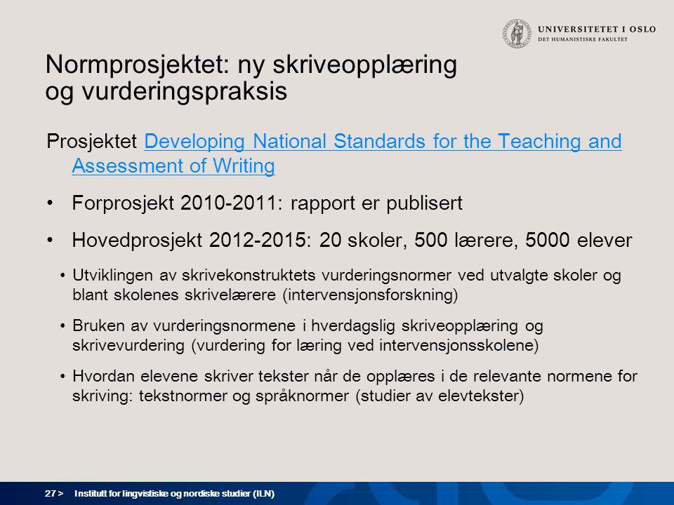 Normprosjektet: ny skriveopplæring og vurderingspraksis